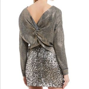 Gianni Bini gold gray sweater with twisted back
